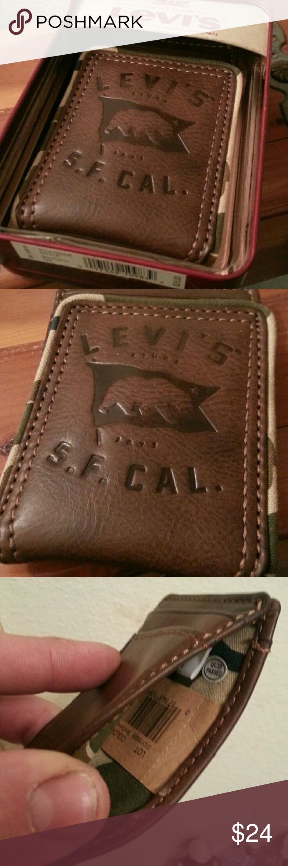 "*NWT*  ""LEVIS"" LEATHER/CAMO MONEY CLIP/CARD HOLDER AUTHENTIC ""LEVIS"" BRAND W/ GENUINE LEATHER AND CAMOUFLAGE LINING & EDGING. This super cool money clip is so much more than your traditional boring metal clip rolling around in your dad's top drawer.  This is what is conceived when a BAD A** LEATHER WALLET MEETS MONEY CLIP!  With the stylish CAMOUFLAGE design and the MAGNETIC LEATHER FLAP FOR HOLDING CARDS, this unique masterpiece is a WIN-WIN foR EVERYONE!  NO REASONABLE OFFER REFUSED…"