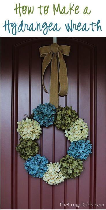 DIY Hydrangea Wreath for your Front Door!  Pretty up your house and add some curb appeal with this easy and beautiful wreath with burlap bow! | TheFrugalGirls.com