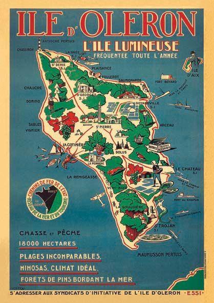 Et voici une affiche présentant l'Île d'Oléron affichée en 1925 !