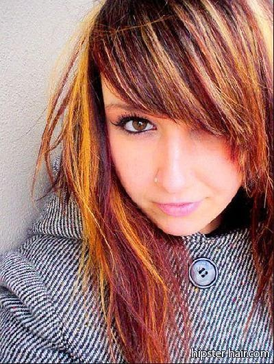 long, straight, blonde, purple, orange, highlights hair at Hipster Hair : Hairstyle Photo Search