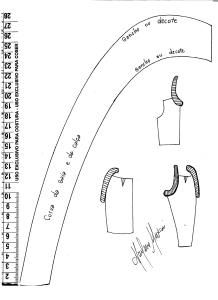 Régua auxiliar para o traçado do quadril, gancho e decote.