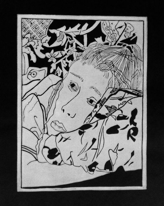 Linocut portrait 'Deep In Thought'  original by BonnysLoft on Etsy