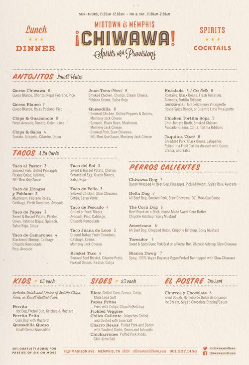 Robert Finkel / Chiwawa #graphic #design #menu #restaurant