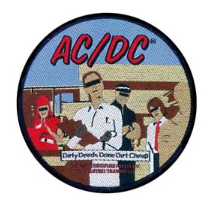 AC/DC Dirty Deeds Done Dirt Cheap Woven Patch Sew On Official Band Merch (New)