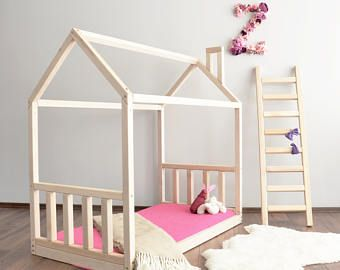 House bed frame peuter bed Montessori, babybed, wieg grootte bed vloer bed Waldorf bed, huis bed frame van de nieuwe home, kinderkamer meubels