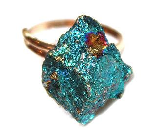 Anillo de ópalo crudo anillo oro anillo ópalo crudo anillo