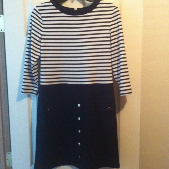 Navy blue and white dress petite size! Cute navy blue striped and white dress with gold colored buttons and gold exposed back zipper.,,, Sandra Darren Dresses
