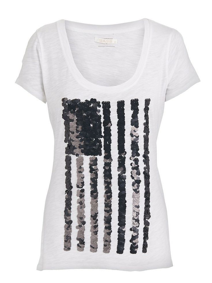 Independence sequin flag knit | This basic white tee has a glam element with the black sequined flag print. Pair with a mini and high tops.