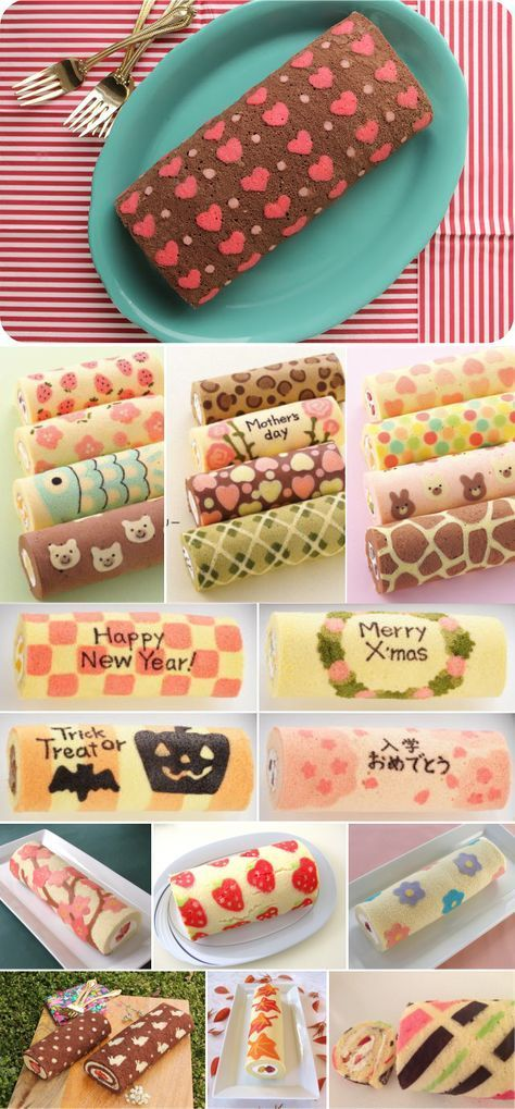 Patterned Cake Roll... so  cute and so simple... have to try it