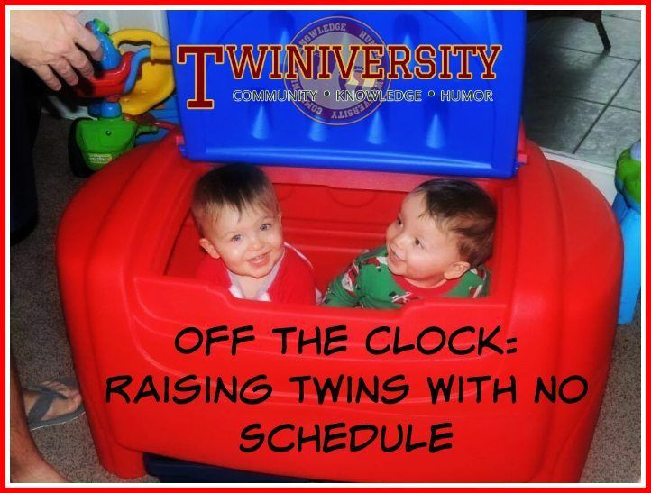 A mom of twins explains how she is raising her twins with no schedule, instead following a flexible routine that changes day to day.