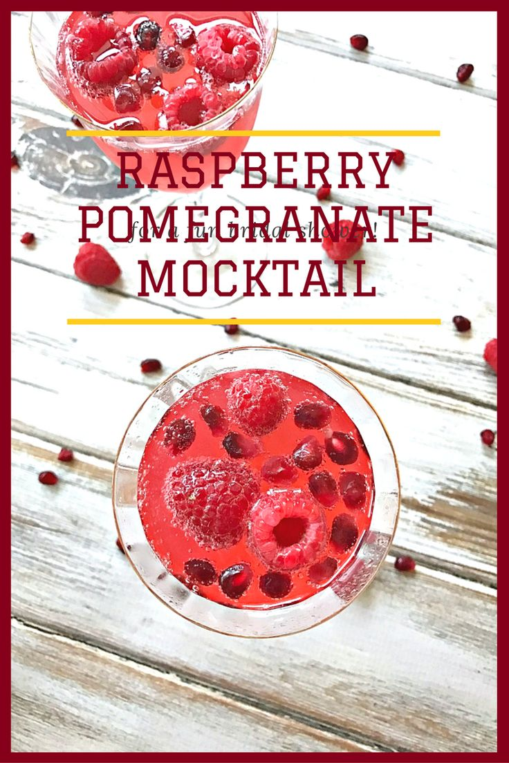 Raspberry Pomegranate Mocktail, A simple concoction of homemade raspberry pomegranate syrup and lemon-lime soda. It's the perfect color for any holiday party!
