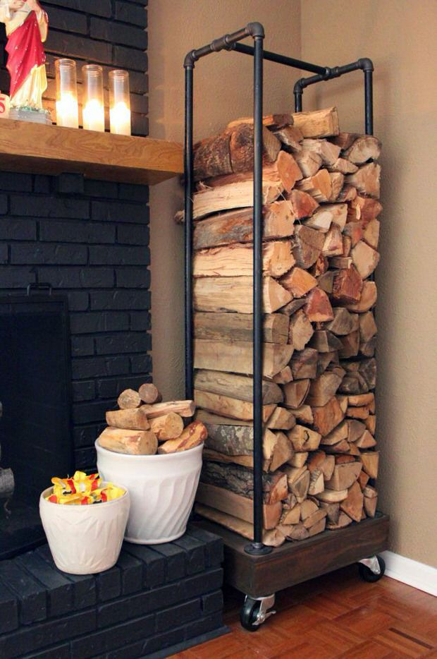 wohnzimmer feuerholz regal im industrie stil bauen                                                                                                                                                                                 Mais