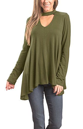 3f980224bc0b Laucote Women's Tunic Tops Choker Long Sleeve V Neck Casual Loose Pullover  Blouse