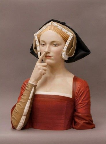 """Gerard Mas, """"THE LADY OF THE FINGER IN THE NOSE"""", 2014 Polychromed resin"""