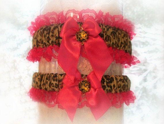 Handcrafted Animal Print Wedding Garter Set - Bridal Garter Set - Leopard Print Garters.