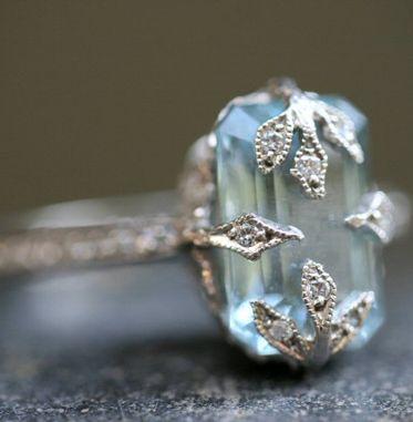 Platinum / Diamond / Aquamarine Emerald Cut Forest Ring