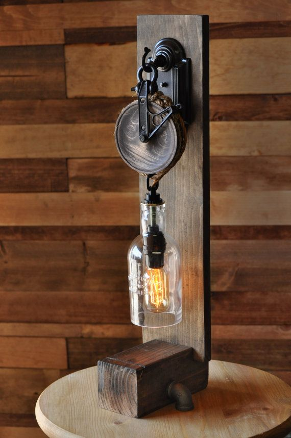 Liquor Bottle Wall Sconce with Pulley di MoonshineLamp su Etsy