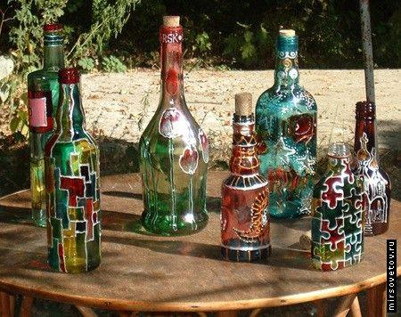 Роспись стекла. Бутылки.