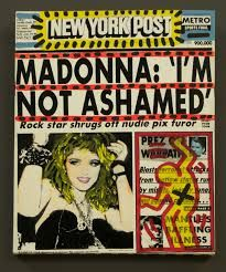When nude photos surfaced in Playboy and Penthouse at the height of her ascent to mega stardom, Madonna was on the cover of every sleazy tabloid literally every single day. Her old chum and gay icon Keith Haring stepped up to the plate, turning the sleaze pieces into urban art artifacts and helping Madonna to turn the furor in her favor.