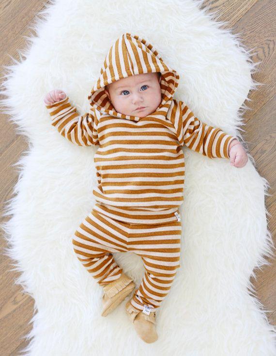 Mustard stripe hoodie gender neutral hoodie by ShopLuluandRoo