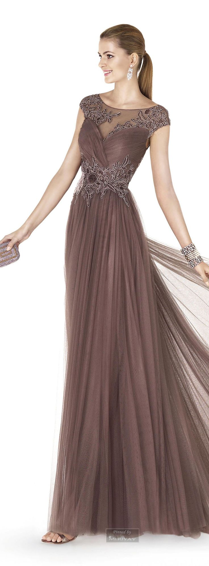 Mocha Chiffon Pleated Skirt Gown w Embroidered Bodice & Waist Details 2015