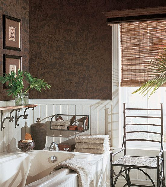 Like the cornice with woven shades...good for breakfast area.