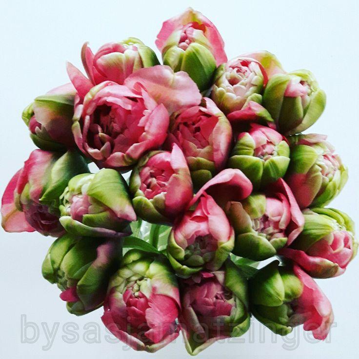 Tulpen in roze en groen by Sasja