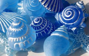 Blue glass sea shells ~ lovely and unique