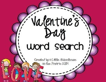 Freebie - Valentine's Day Word Seach
