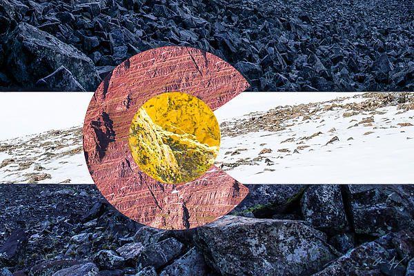 Colorado State Flag with mountain textures