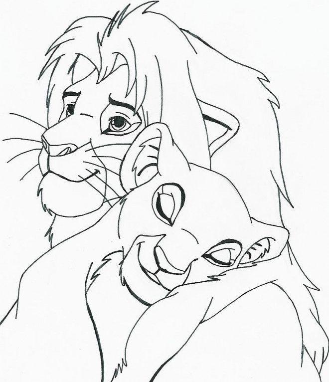 Coloriage Nala Et Le Roi Lion Et Dessin Gratuit A Imprimer