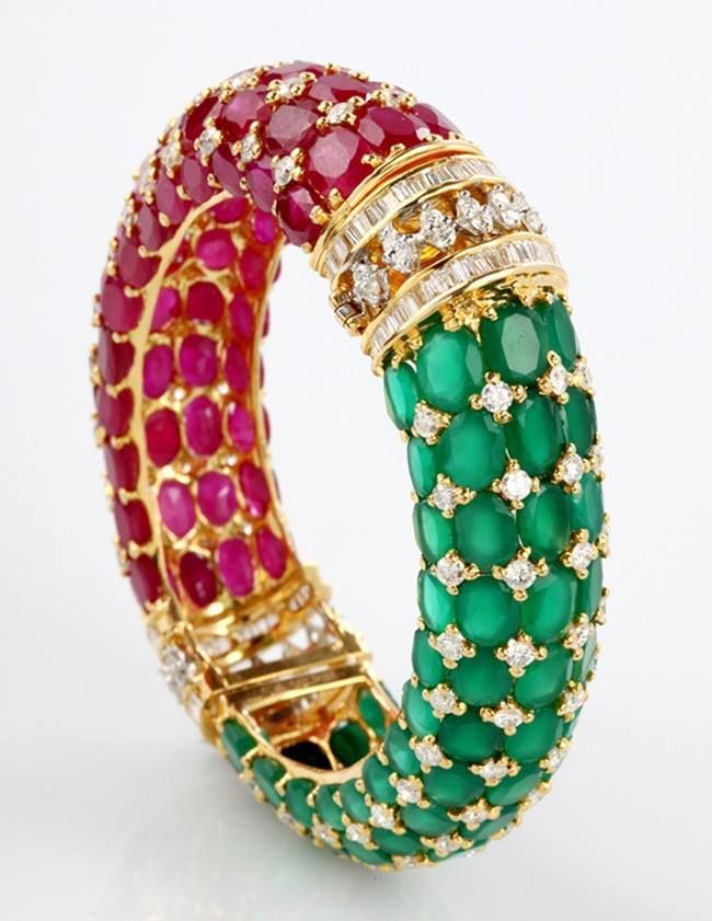 Rubies Emeralds And Gold Bracelet