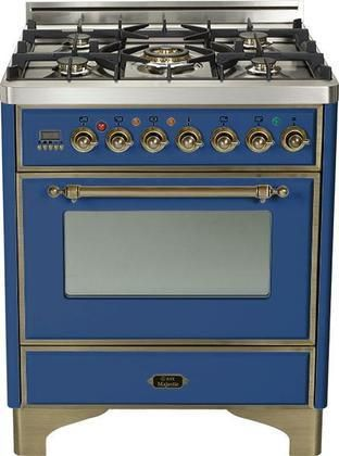 """UM76DMPBLY 30"""" Majestic Series Freestanding Dual Fuel Range with 5 Sealed Burners 3.0 cu. ft. Primary Oven Capacity Convection Oven Warming Drawer Oiled Bronze Trim in Midnight Blue"""