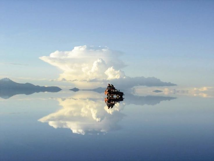 Salar de Uyuni in Bolivia - The salt desert in the rainy season. During the rainy season (Jan-Feb-March) the Salar is flooded with an inch of water. The whole desert becomes a mirror of water of 5000 square miles. - Pixdaus
