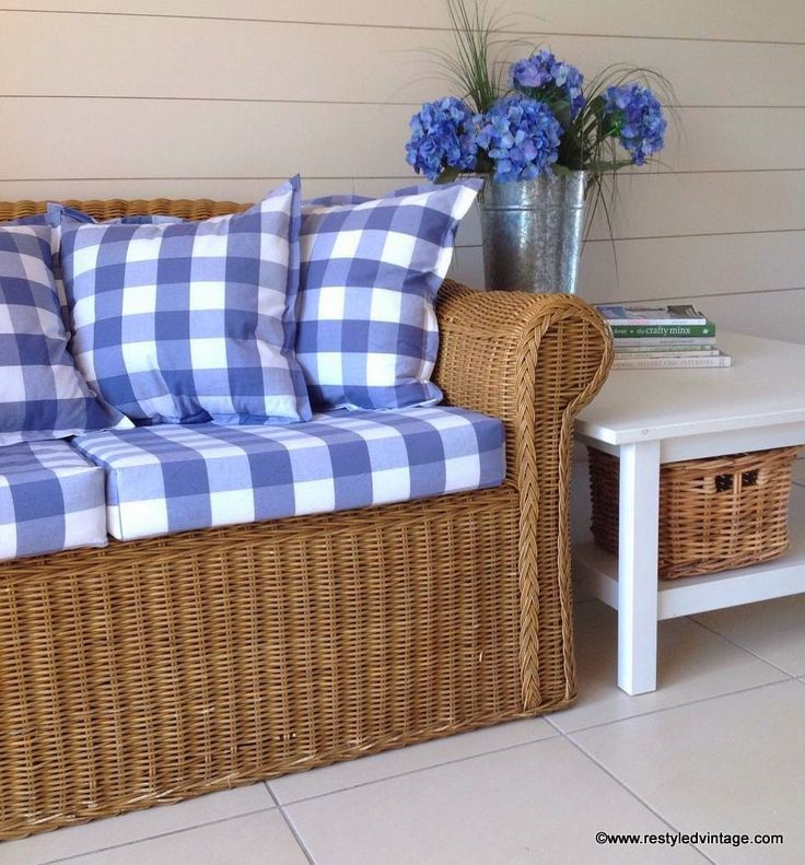 Restyled Vintage: French Blue Buffalo Check Wicker Couch