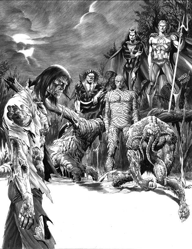 Zombie, Morbius, Living Mummy, Satana, Son of Satan & Man-Thing, art by Pablo Marco