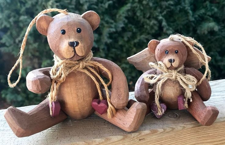 Vintage Bear Ornaments Set Of 2 Handcrafted Articulated Limbs Delton | eBay