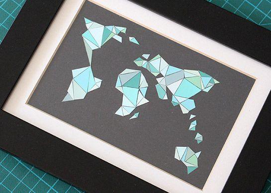 Mosaikweltkarte aus farbwahlkarten diy love paper - Farbkarten kostenlos ...