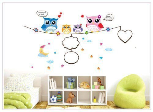 GRHOSE Good Night My Baby Sweet Dream Too Quote Owls with Picture Frame Removable Wall Decal Decor Sticker ** You can get additional details at the image link. (Note:Amazon affiliate link)