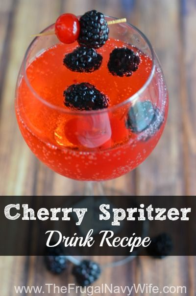 Homemade Cherry Spritzer Drink Recipe - Simple and easy, use 7up for a kid friendly version