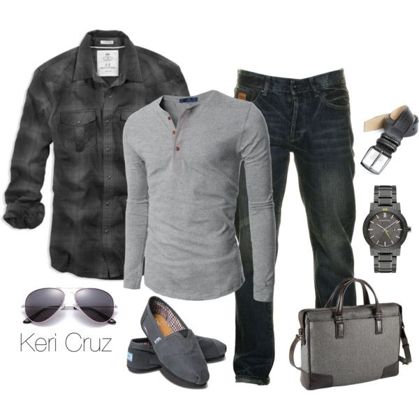 Men's Fashion by keri-cruz on Polyvore featuring TOMS, Burberry, Doublju, American Eagle Outfitters, Two Stoned, Tumi and Mezlan