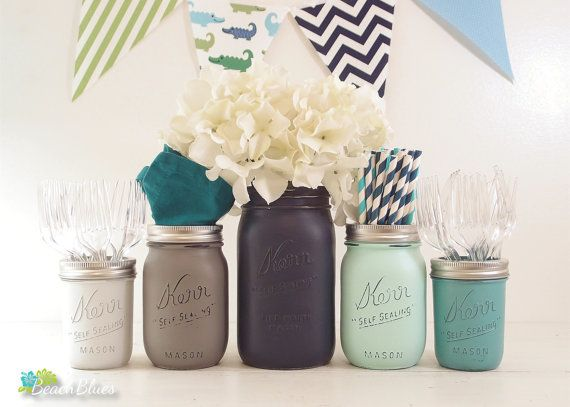 Baby Shower Centerpiece Mason Jars Vase Navy Mint Grey Boy