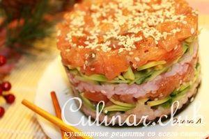 Салатные суши - башенки