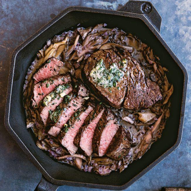 Steak with Red Wine and Mushroom Pan Sauce