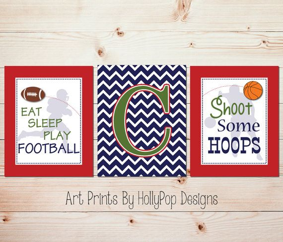 Boys Room Wall Decor-Football Basketball Wall Art-Eat Sleep Play Football    Set of 3 prints designed in red blue and green with a sports theme.