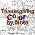 We are thankful for music!  Use these Thanksgiving themed color sheets to help students identify or differentiate between notes.    This kit contai...