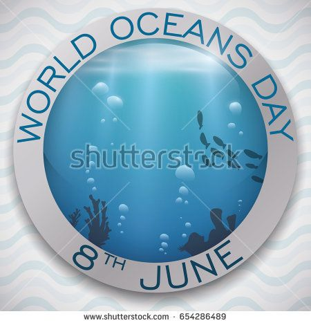 Poster with round button and beautiful view of underwater fauna and bubbles for World Oceans Day celebration.