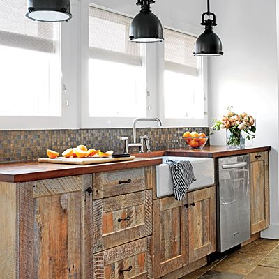 rustic meets modern beach cottage industrial style wood counter and pendant lighting. Black Bedroom Furniture Sets. Home Design Ideas