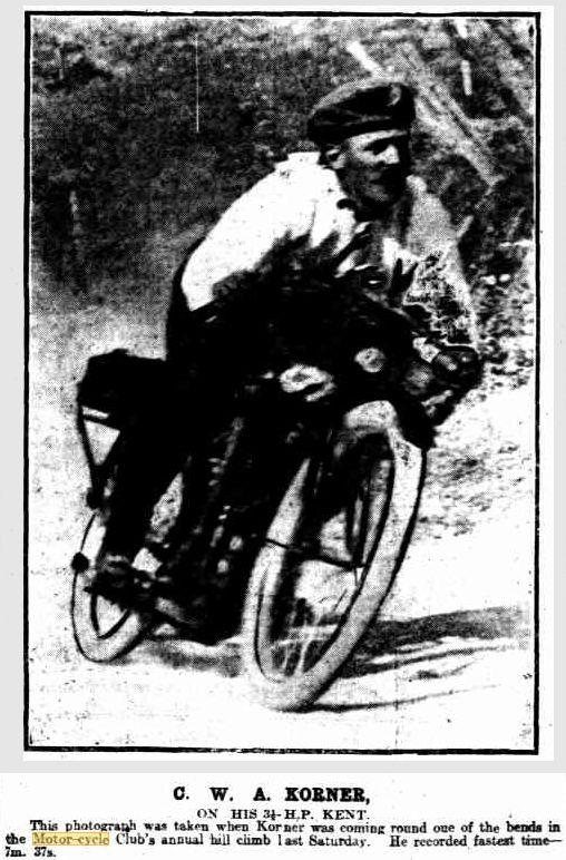 C. W. A. Korner on a 1912 Rova Kent 3.5 h.p. 496cc four-valve at the South Australian Hill Climb Fri 15 Mar 1913
