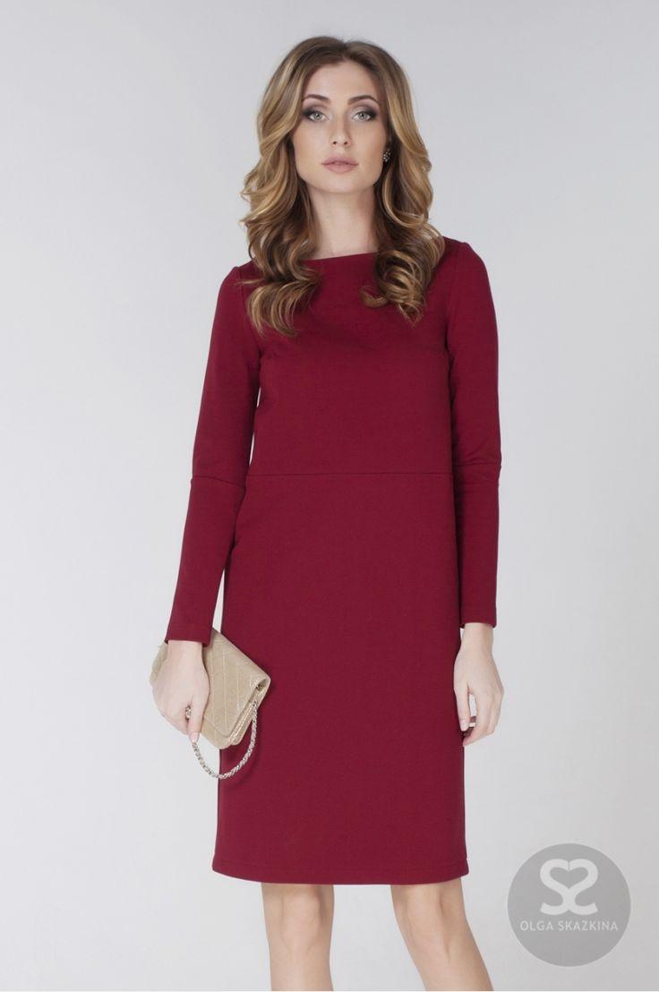 Прямое трикотажное платье с длинным рукавом   Skazkina